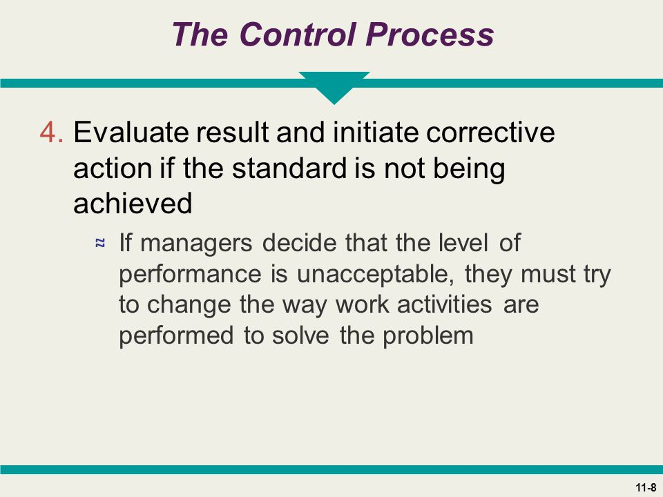 11-8 The Control Process 4.Evaluate result and initiate corrective action if the standard is not being achieved ≈ If managers decide that the level of performance is unacceptable, they must try to change the way work activities are performed to solve the problem