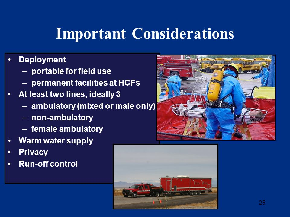 25 Important Considerations Deployment –portable for field use –permanent facilities at HCFs At least two lines, ideally 3 –ambulatory (mixed or male only) –non-ambulatory –female ambulatory Warm water supply Privacy Run-off control