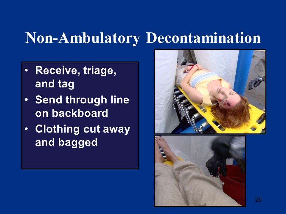 29 Non-Ambulatory Decontamination Receive, triage, and tag Send through line on backboard Clothing cut away and bagged