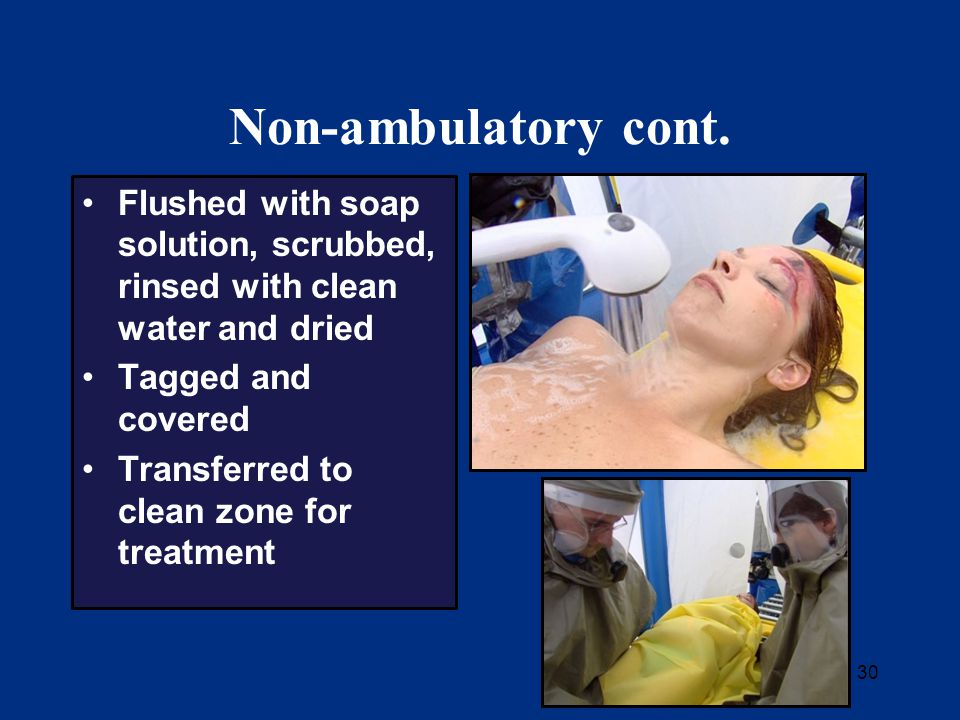 30 Non-ambulatory cont. Flushed with soap solution, scrubbed, rinsed with clean water and dried Tagged and covered Transferred to clean zone for treat