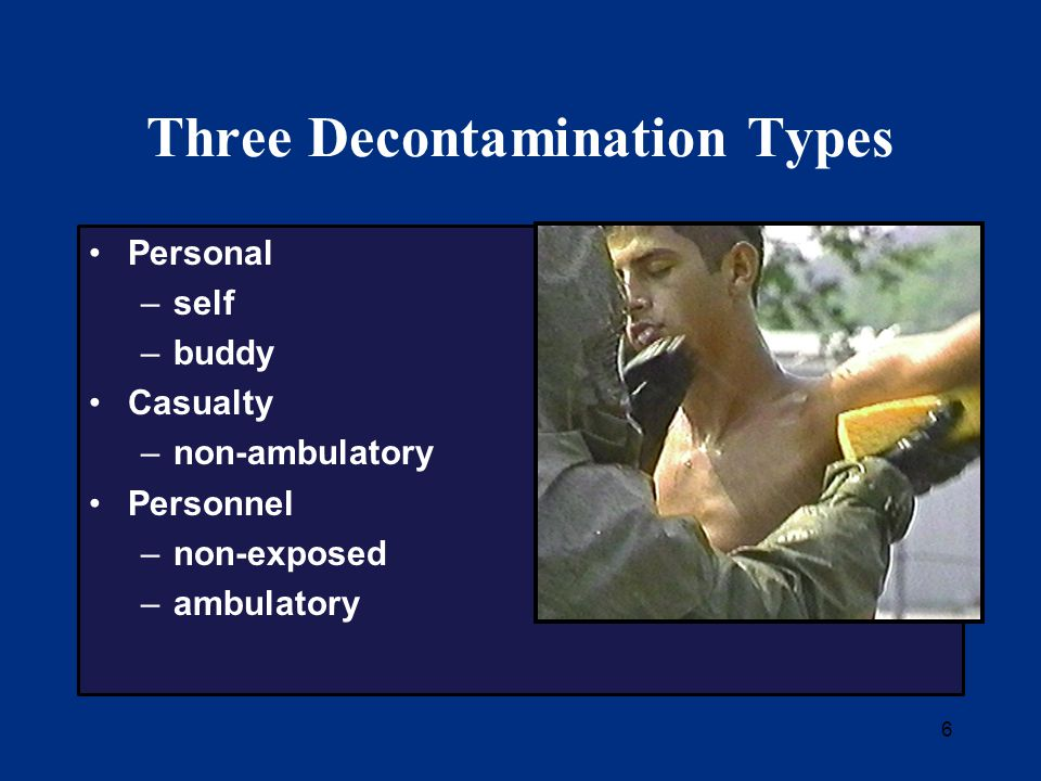 27 Ambulatory Decontamination Receive, triage and tag Treat wounds (optional) Remove and bag all effects Thoroughly shower with soap and water