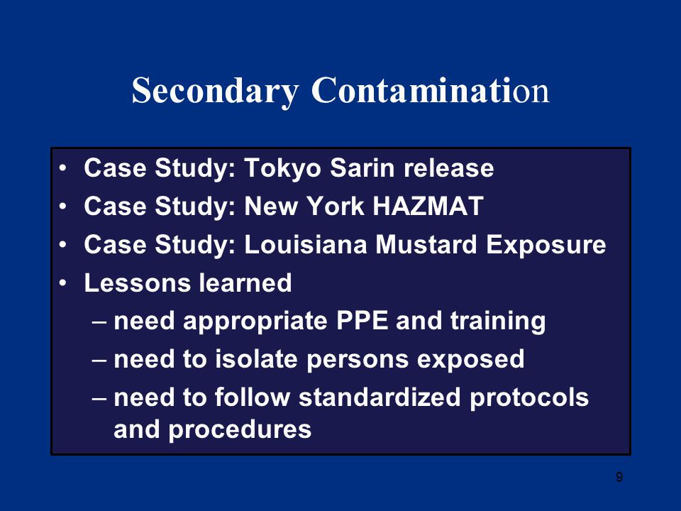 10 Tokyo Subway Sarin Incident March 20, 1995 3 subway lines attacked in morning rush hour Estimated 5,500 persons exposed No on-scene decontamination Decontamination initiated at medical facilities 3 hours after exposure Secondary contamination at hospitals was a major problem