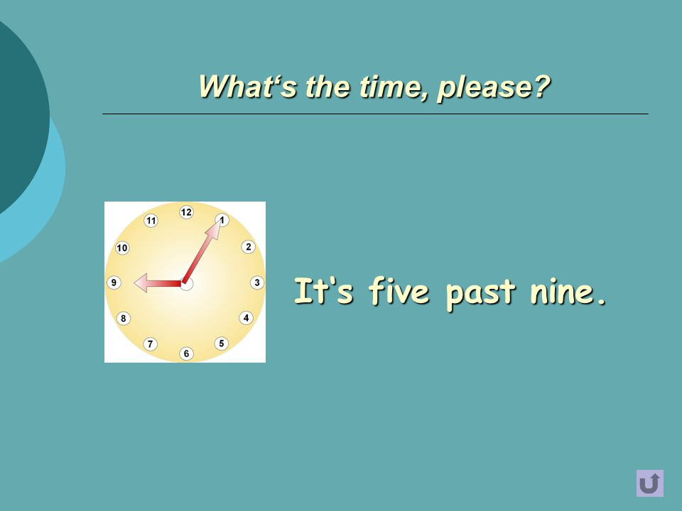 It's five past nine. What's the time, please