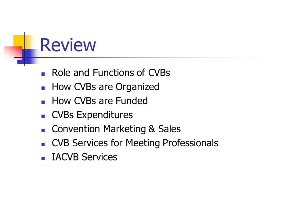 Review Role and Functions of CVBs How CVBs are Organized How CVBs are Funded CVBs Expenditures Convention Marketing & Sales CVB Services for Meeting Professionals IACVB Services
