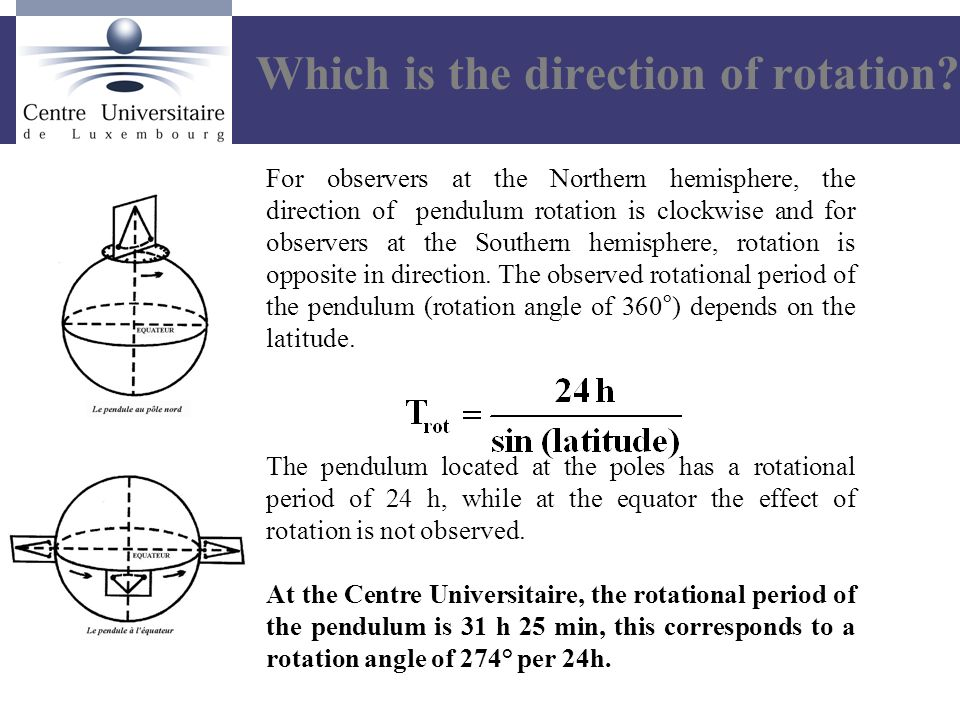 For observers at the Northern hemisphere, the direction of pendulum rotation is clockwise and for observers at the Southern hemisphere, rotation is opposite in direction.