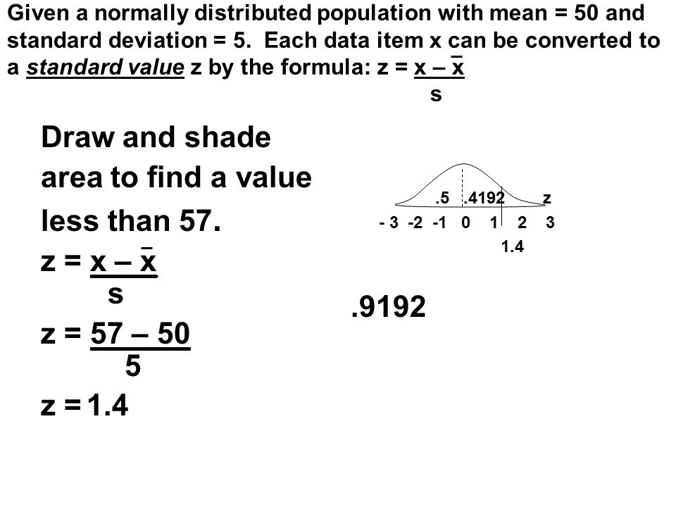Draw and shade area to find a value less than 57. z = x – x s z = 57 – 50 5 z = 1.4 Given a normally distributed population with mean = 50 and standar