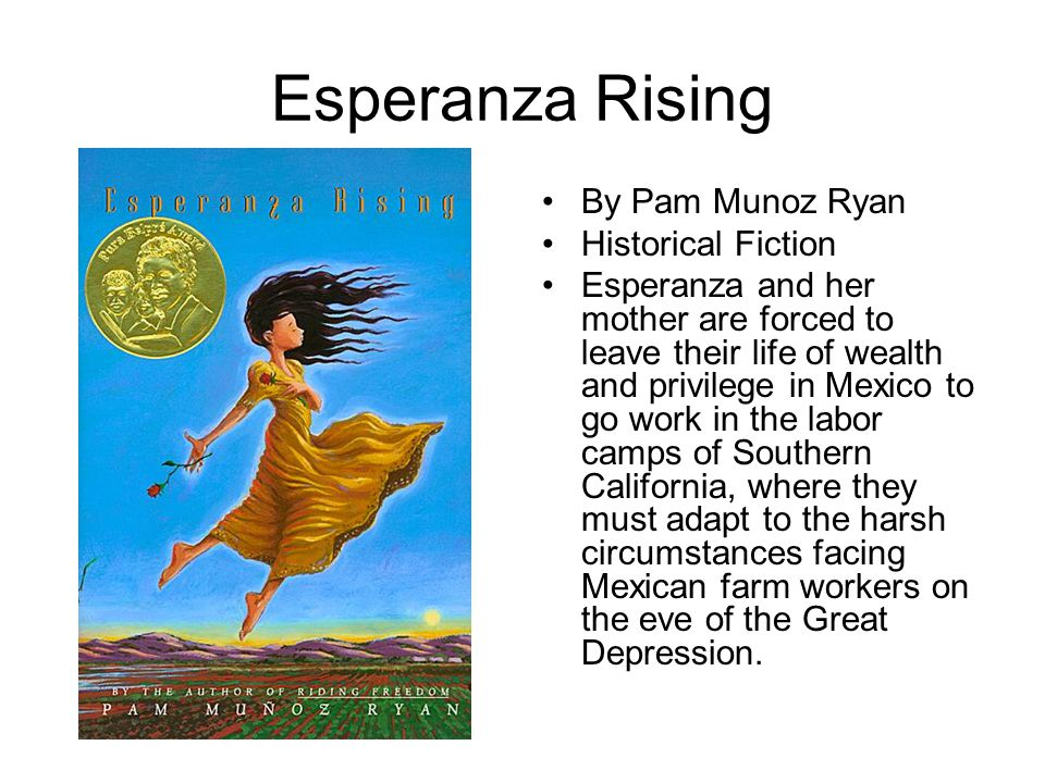 Esperanza Rising By Pam Munoz Ryan Historical Fiction Esperanza and her mother are forced to leave their life of wealth and privilege in Mexico to go