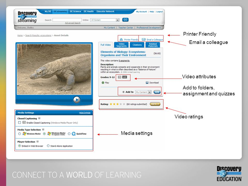 Printer Friendly Email a colleague Video attributes Add to folders, assignment and quizzes Video ratings Media settings