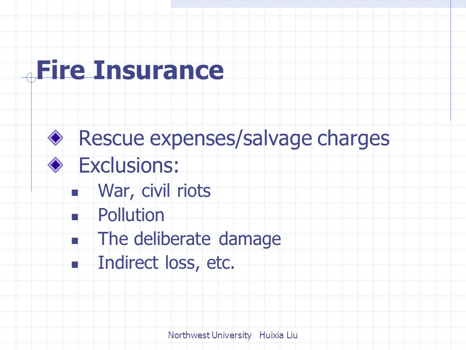 Fire Insurance Rescue expenses/salvage charges Exclusions: War, civil riots Pollution The deliberate damage Indirect loss, etc.