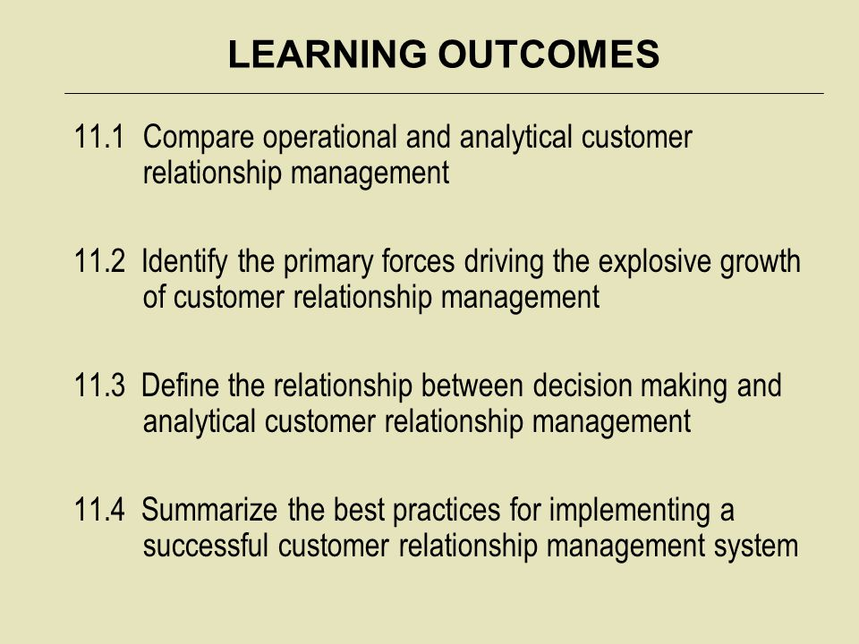 LEARNING OUTCOMES 11.1Compare operational and analytical customer relationship management 11.2 Identify the primary forces driving the explosive growt