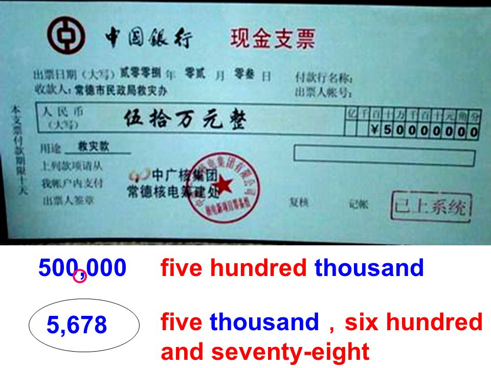 500,000five hundred thousand 5,678 five thousand , six hundred and seventy-eight