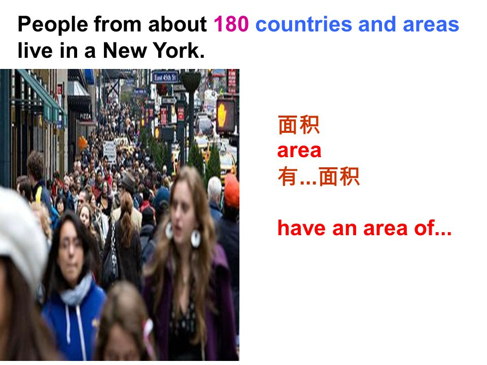 People from about 180 countries and areas live in a New York. 面积 有... 面积 area have an area of...
