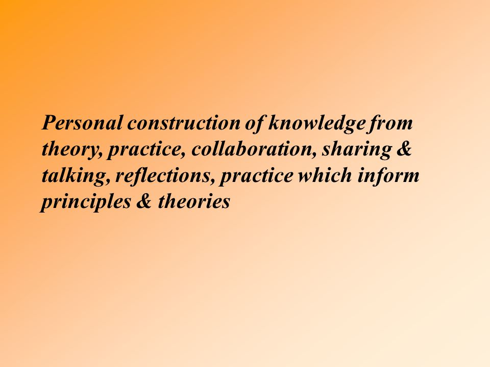 Personal construction of knowledge from theory, practice, collaboration, sharing & talking, reflections, practice which inform principles & theories