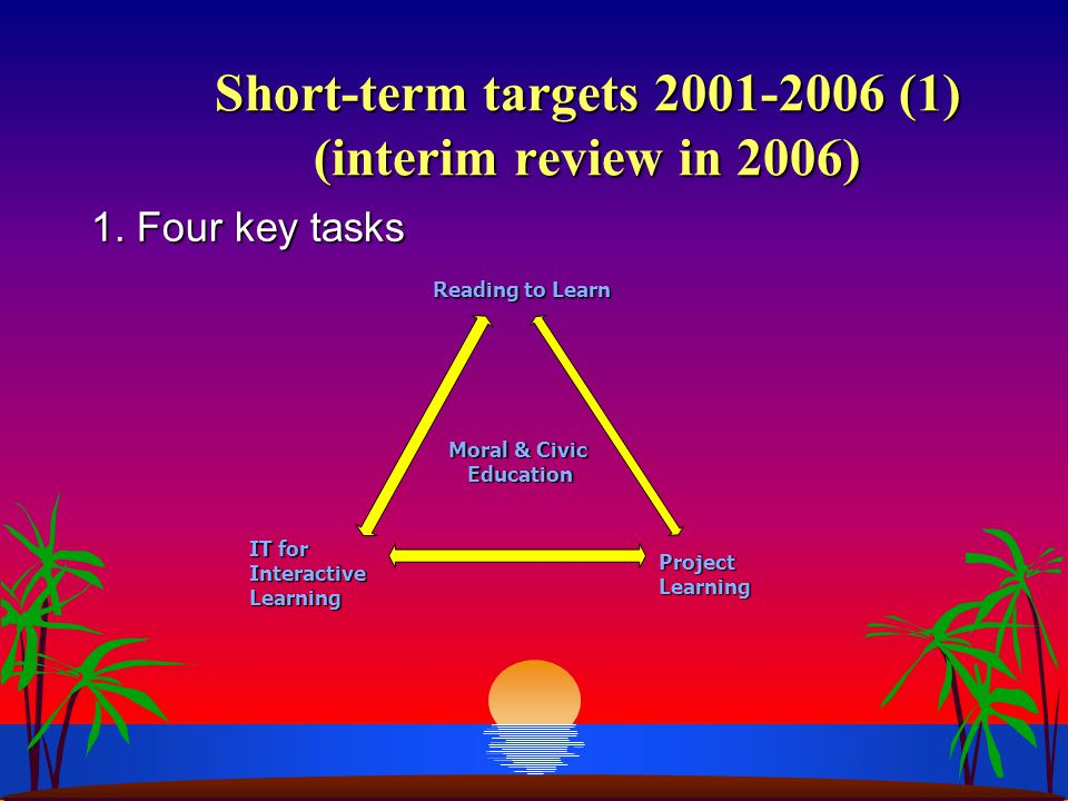 Short-term targets 2001-2006 (1) (interim review in 2006) Short-term targets 2001-2006 (1) (interim review in 2006) 1. Four key tasks Reading to Learn