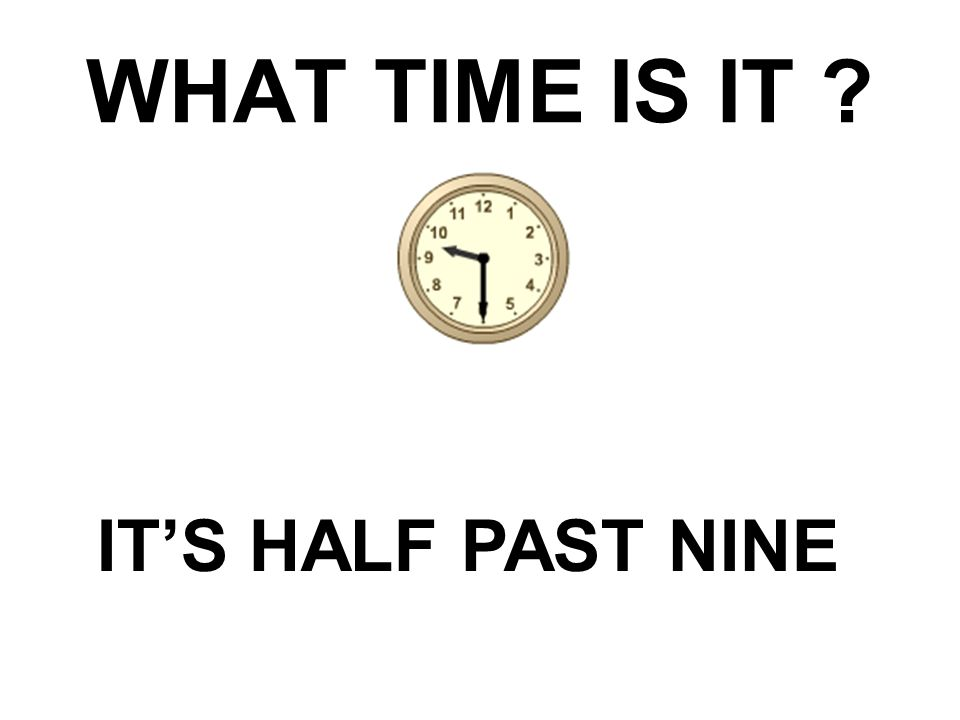 WHAT TIME IS IT ? IT'S HALF PAST NINE
