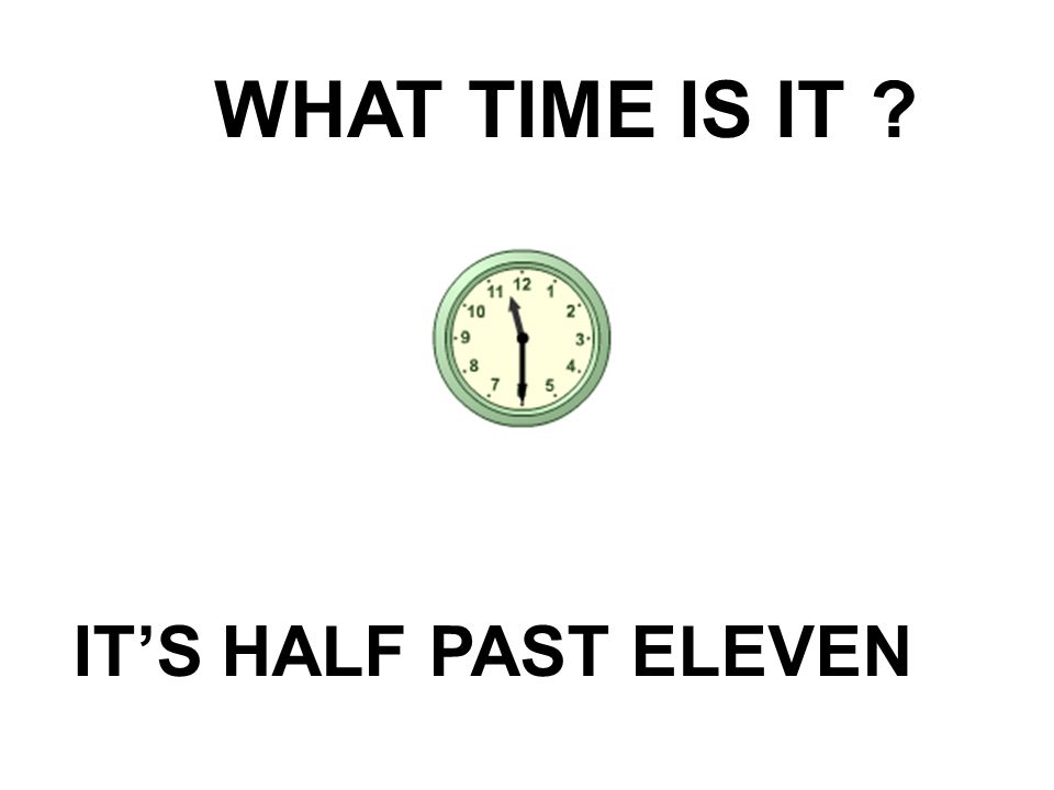WHAT TIME IS IT? IT'S HALF PAST ELEVEN