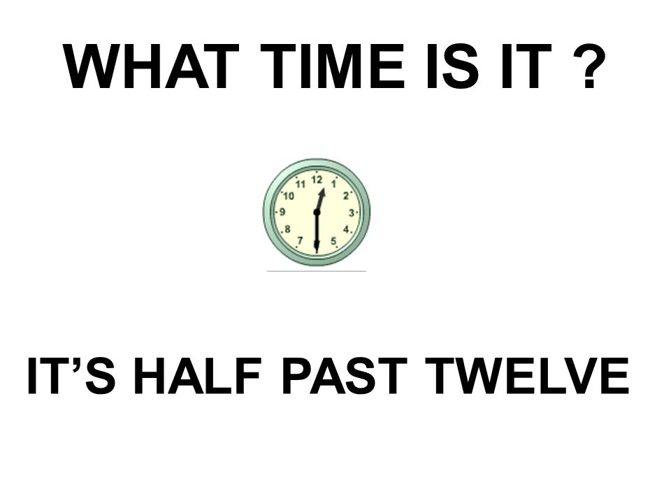 WHAT TIME IS IT ? IT'S HALF PAST TWELVE