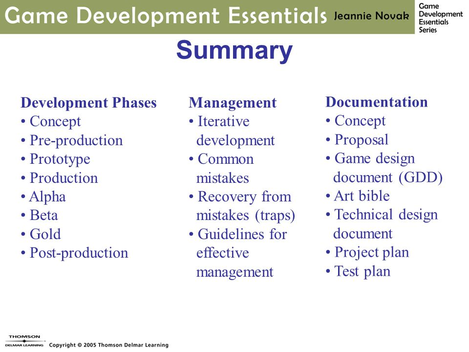 Summary Management Iterative development Common mistakes Recovery from mistakes (traps) Guidelines for effective management Documentation Concept Proposal Game design document (GDD) Art bible Technical design document Project plan Test plan Development Phases Concept Pre-production Prototype Production Alpha Beta Gold Post-production