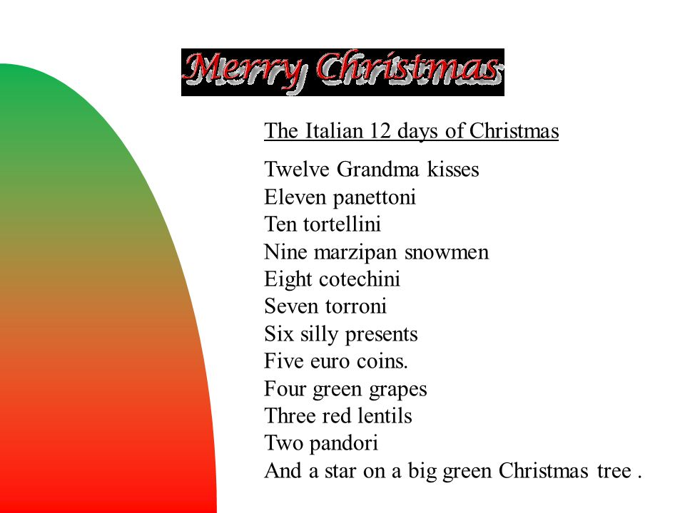 The Italian 12 days of Christmas Twelve Grandma kisses Eleven panettoni Ten tortellini Nine marzipan snowmen Eight cotechini Seven torroni Six silly p