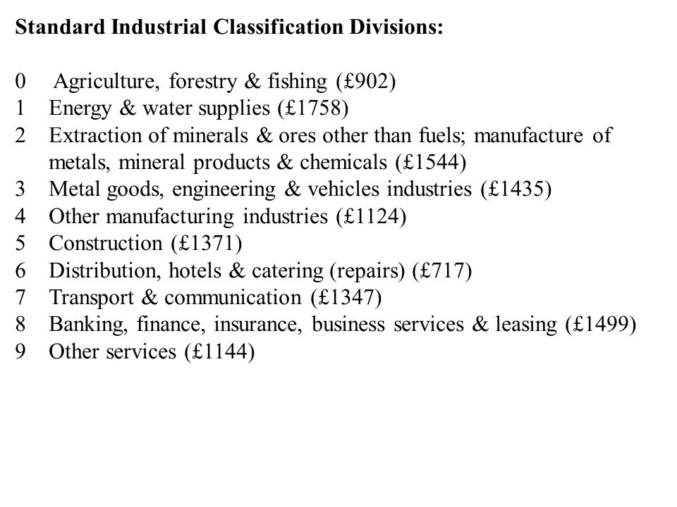 Standard Industrial Classification Divisions: 0 Agriculture, forestry & fishing (£902) 1Energy & water supplies (£1758) 2Extraction of minerals & ores