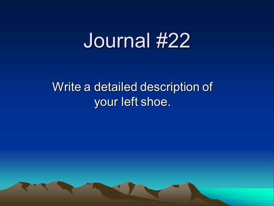 Journal #22 Write a detailed description of your left shoe.