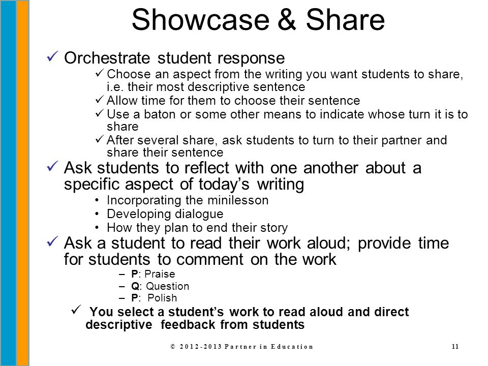 © 2012-2013 Partner in Education11 Showcase & Share Orchestrate student response Choose an aspect from the writing you want students to share, i.e. th