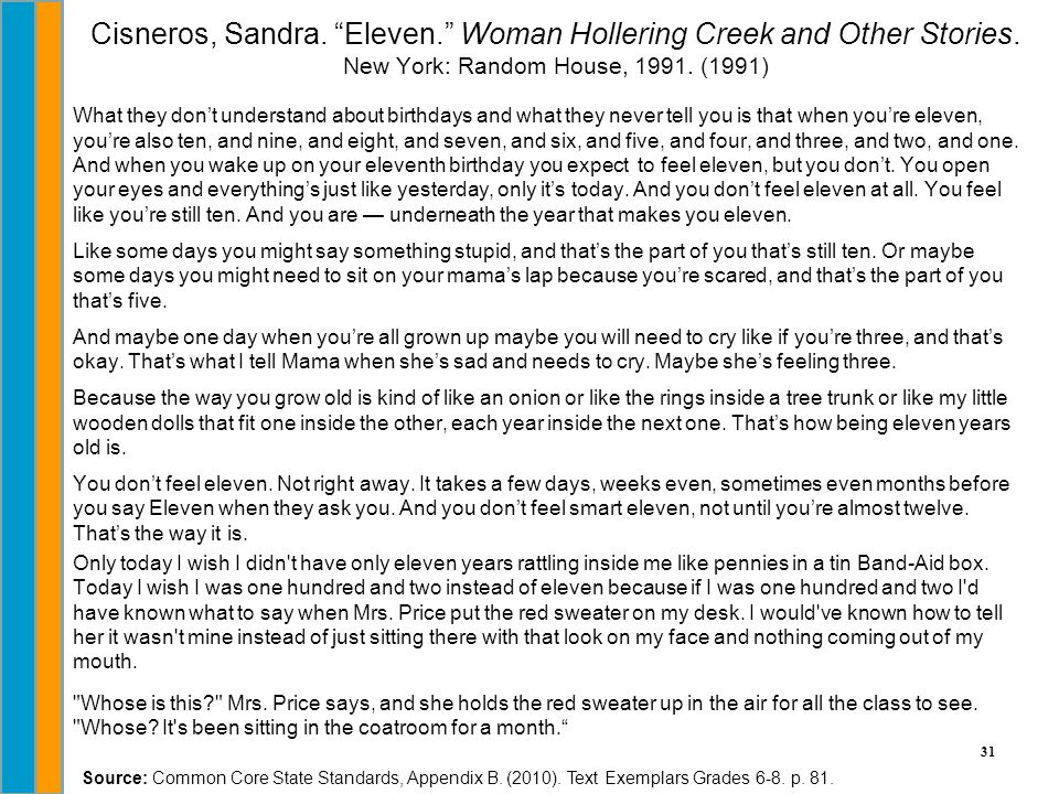 """31 Cisneros, Sandra. """"Eleven."""" Woman Hollering Creek and Other Stories. New York: Random House, 1991. (1991) What they don't understand about birthday"""