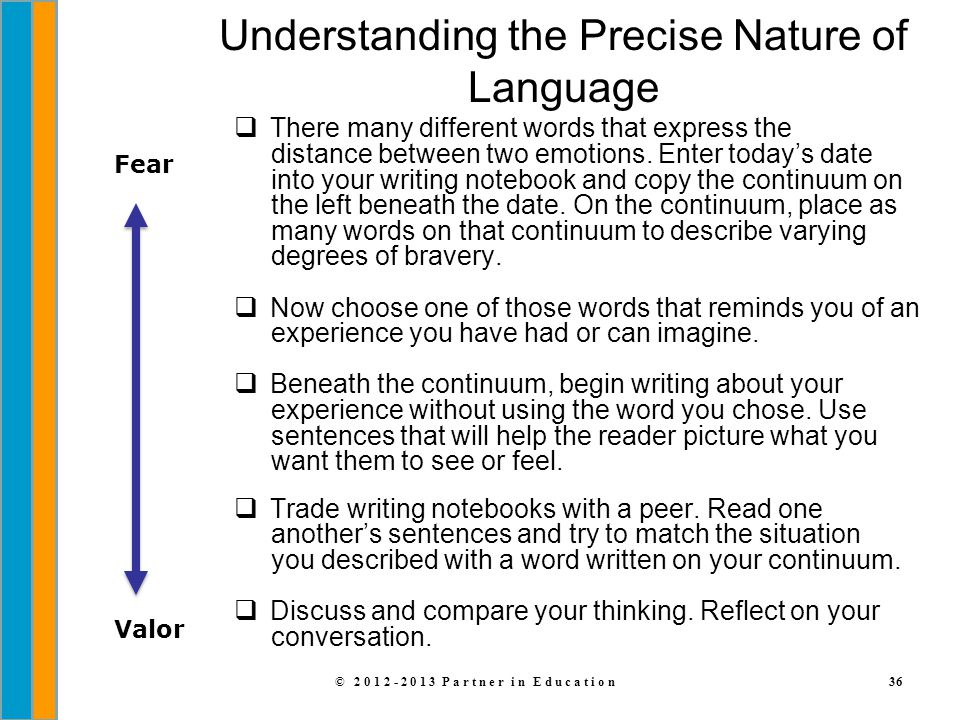 © 2012-2013 Partner in Education36 Understanding the Precise Nature of Language  There many different words that express the distance between two emo