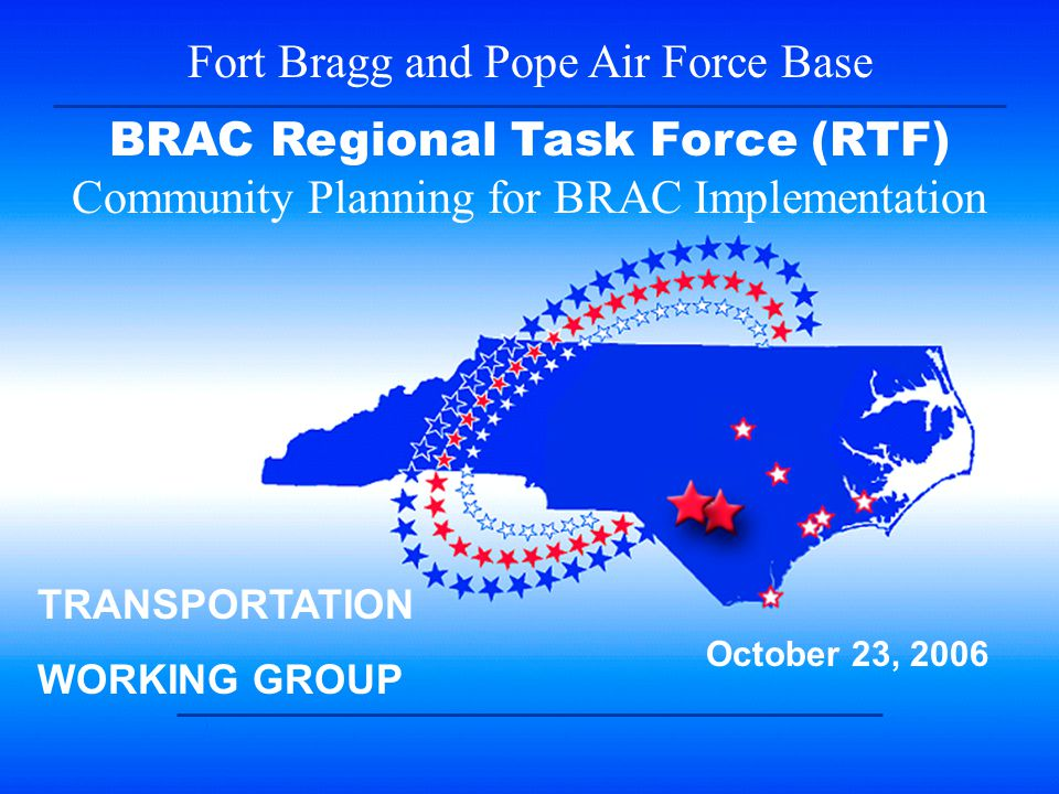 2 BRAC RTF Transportation Work Group Meeting Monday, October 23 rd, Ft.