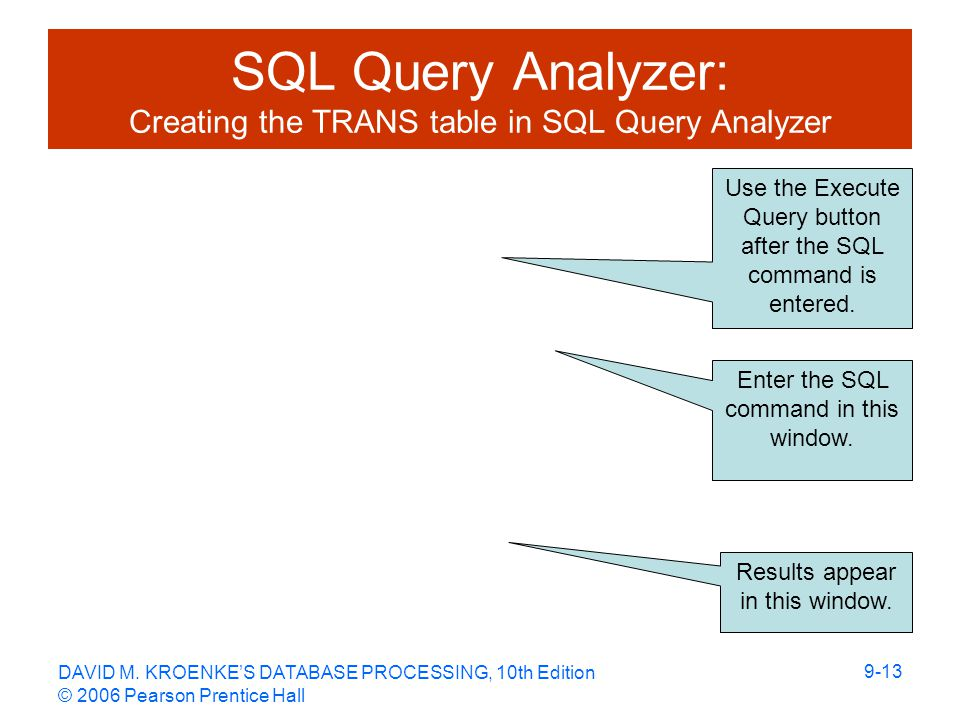 DAVID M. KROENKE'S DATABASE PROCESSING, 10th Edition © 2006 Pearson Prentice Hall 9-13 SQL Query Analyzer: Creating the TRANS table in SQL Query Analy