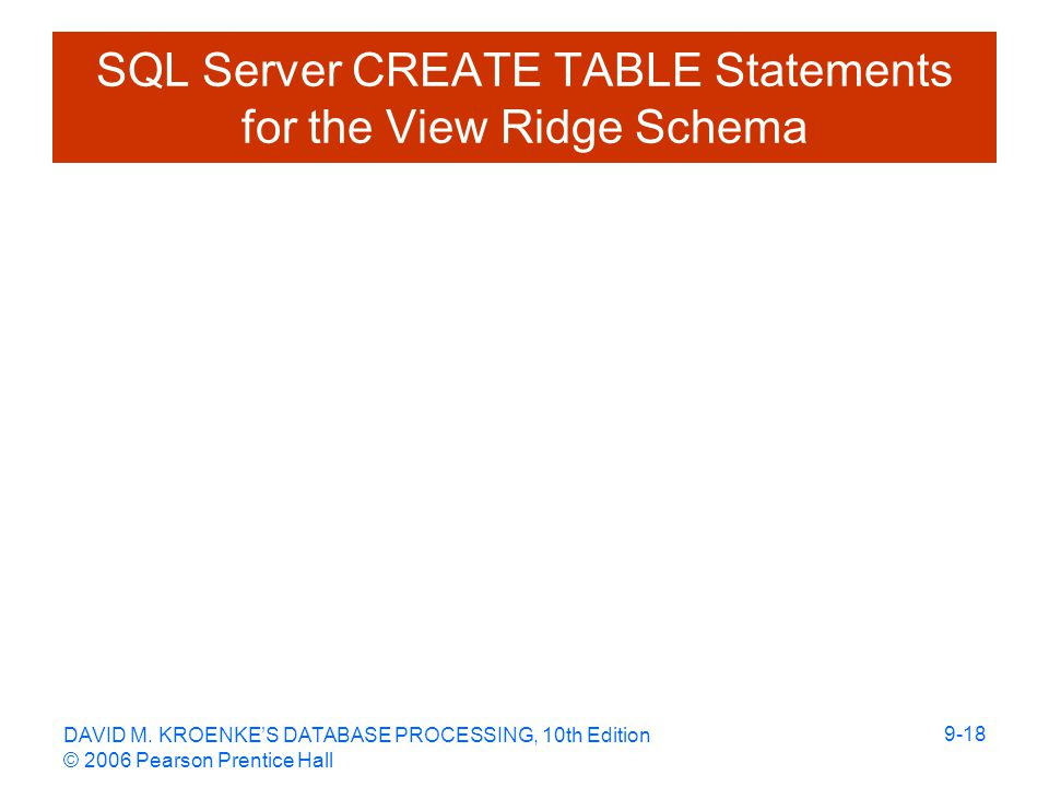 DAVID M. KROENKE'S DATABASE PROCESSING, 10th Edition © 2006 Pearson Prentice Hall 9-18 SQL Server CREATE TABLE Statements for the View Ridge Schema