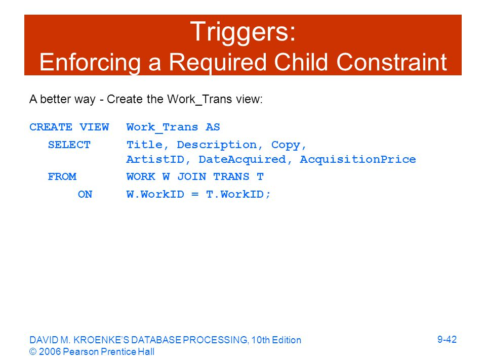 DAVID M. KROENKE'S DATABASE PROCESSING, 10th Edition © 2006 Pearson Prentice Hall 9-42 Triggers: Enforcing a Required Child Constraint CREATE VIEW Wor