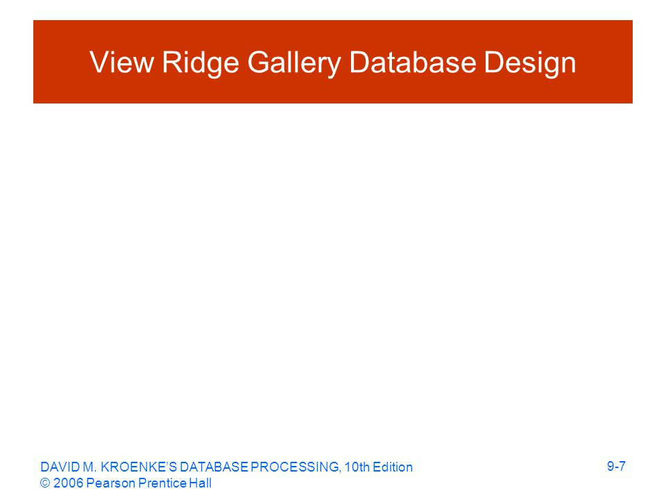 DAVID M. KROENKE'S DATABASE PROCESSING, 10th Edition © 2006 Pearson Prentice Hall 9-7 View Ridge Gallery Database Design