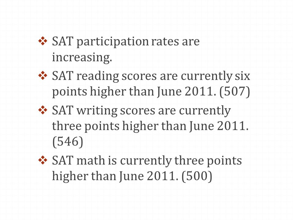  SAT participation rates are increasing.