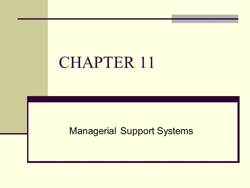 CHAPTER 11 Managerial Support Systems