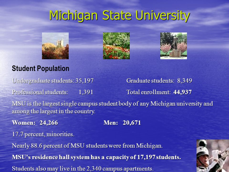 Michigan State University Student Population Undergraduate students: 35,197Graduate students: 8,349 Professional students: 1,391Total enrollment: 44,937 MSU is the largest single campus student body of any Michigan university and among the largest in the country.