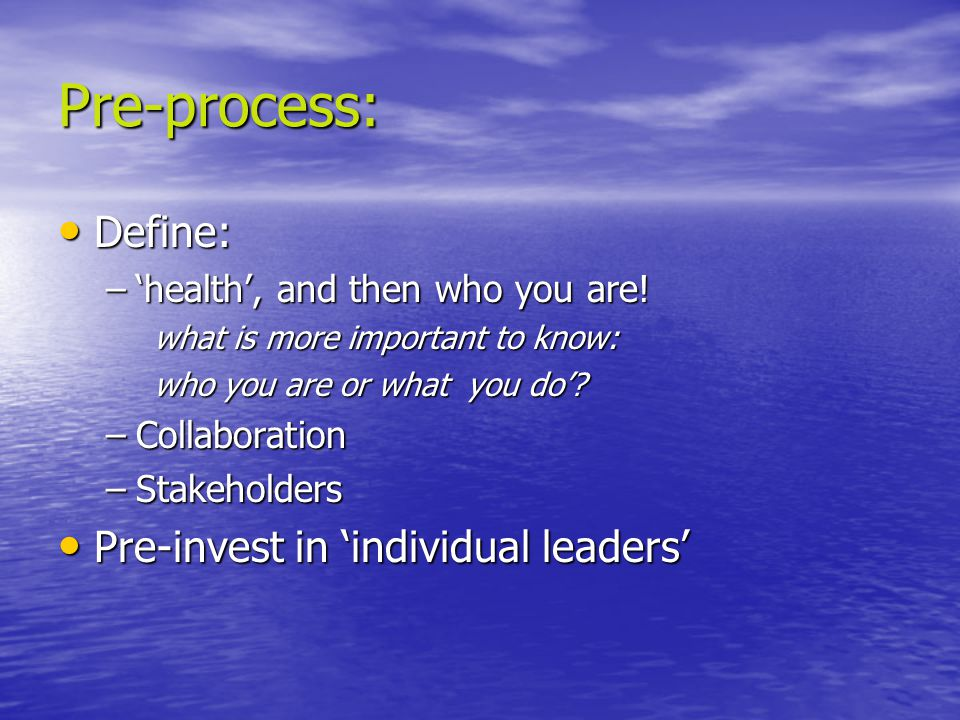 Pre-process: Define: Define: –'health', and then who you are! what is more important to know: who you are or what you do'? –Collaboration –Stakeholder