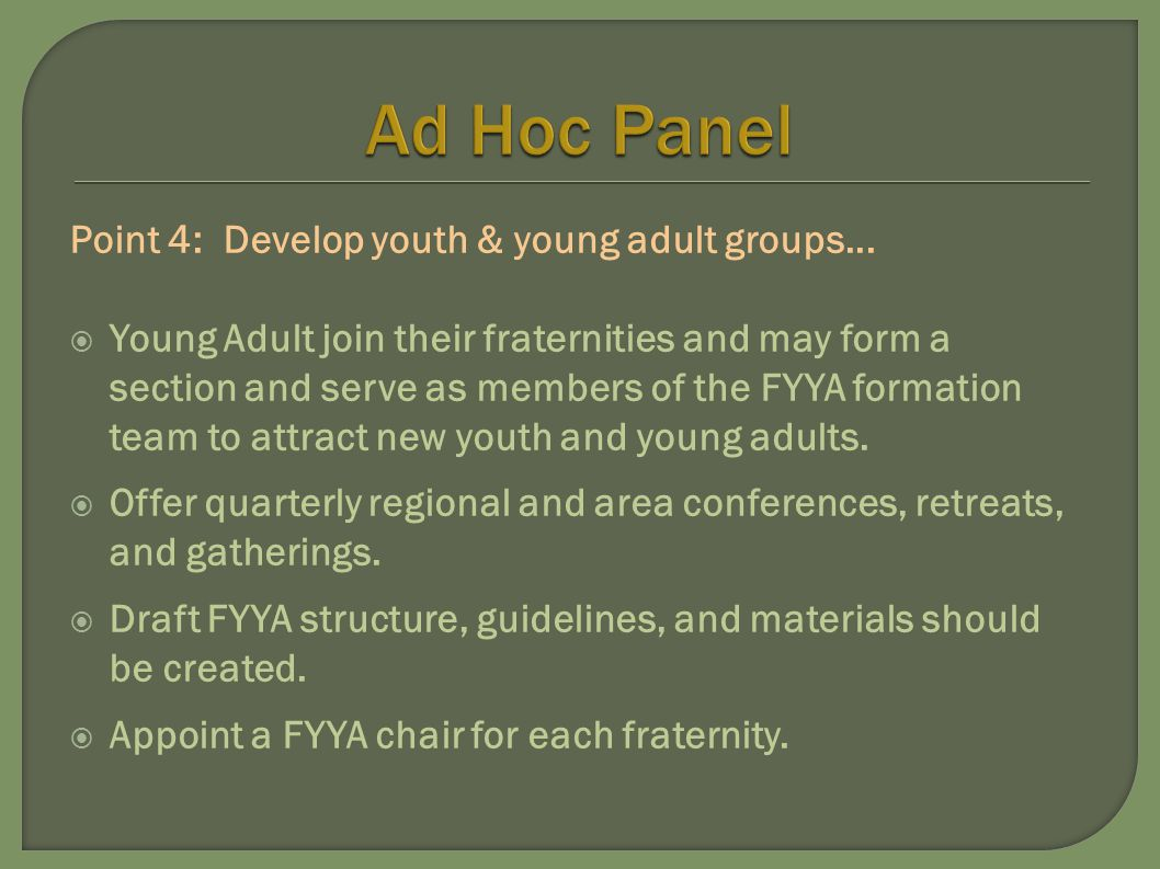 Point 4: Develop youth & young adult groups...