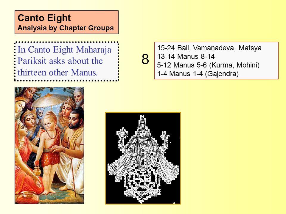 Canto Eight Analysis by Chapter Groups 15-24 Bali, Vamanadeva, Matsya 13-14 Manus 8-14 5-12 Manus 5-6 (Kurma, Mohini) 1-4 Manus 1-4 (Gajendra) In Canto Eight Maharaja Pariksit asks about the thirteen other Manus.