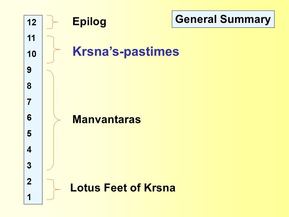 12 11 10 9 8 7 6 5 4 3 2 1 Lotus Feet of Krsna Manvantaras Krsna's-pastimes Epilog General Summary