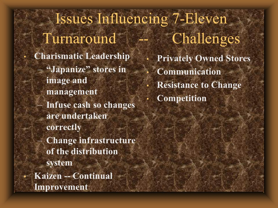 Issues Influencing 7-Eleven Turnaround -- Challenges Charismatic Leadership – Japanize stores in image and management –Infuse cash so changes are undertaken correctly –Change infrastructure of the distribution system Kaizen -- Continual Improvement Privately Owned Stores Communication Resistance to Change Competition