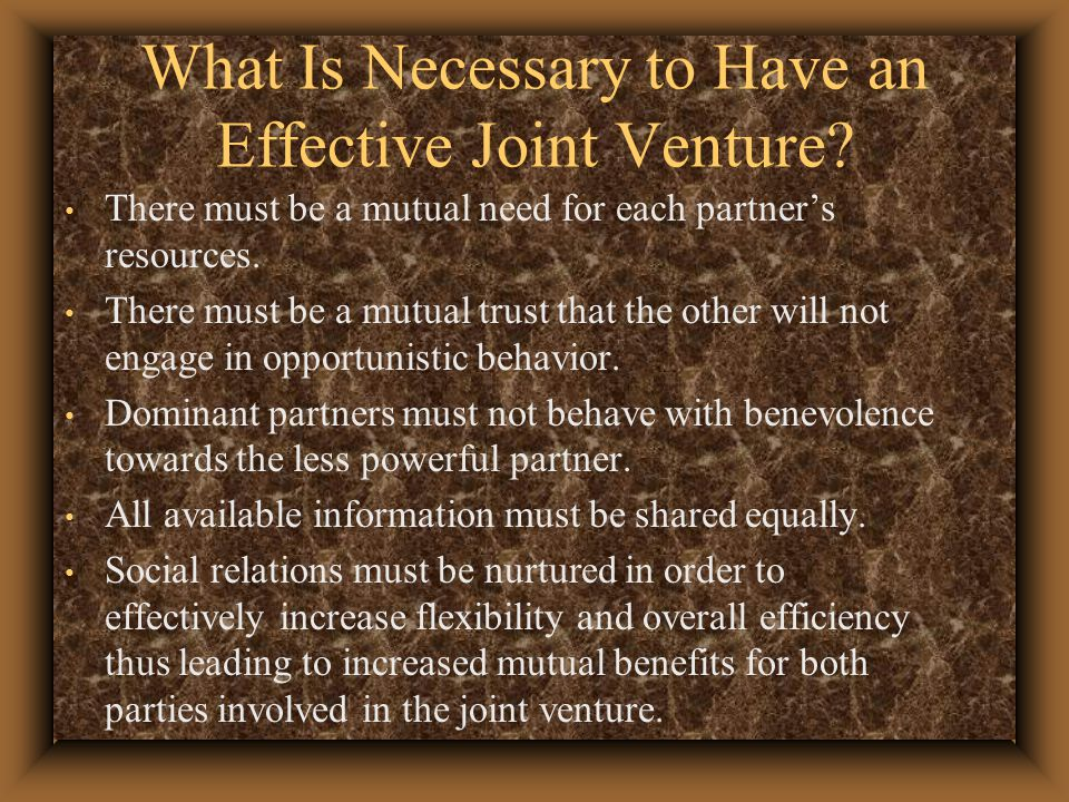 What Is Necessary to Have an Effective Joint Venture.
