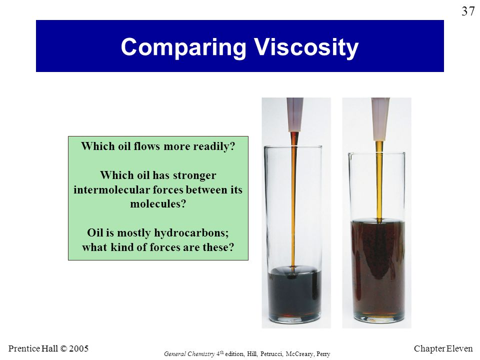 Hall © 2005 Prentice Hall © 2005 General Chemistry 4 th edition, Hill, Petrucci, McCreary, Perry Chapter Eleven 37 Comparing Viscosity Which oil flows more readily.