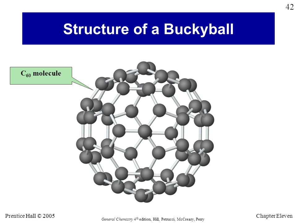 Hall © 2005 Prentice Hall © 2005 General Chemistry 4 th edition, Hill, Petrucci, McCreary, Perry Chapter Eleven 42 Structure of a Buckyball C 60 molecule