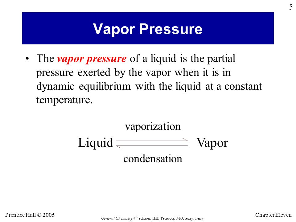 Hall © 2005 Prentice Hall © 2005 General Chemistry 4 th edition, Hill, Petrucci, McCreary, Perry Chapter Eleven 5 Vapor Pressure The vapor pressure of a liquid is the partial pressure exerted by the vapor when it is in dynamic equilibrium with the liquid at a constant temperature.