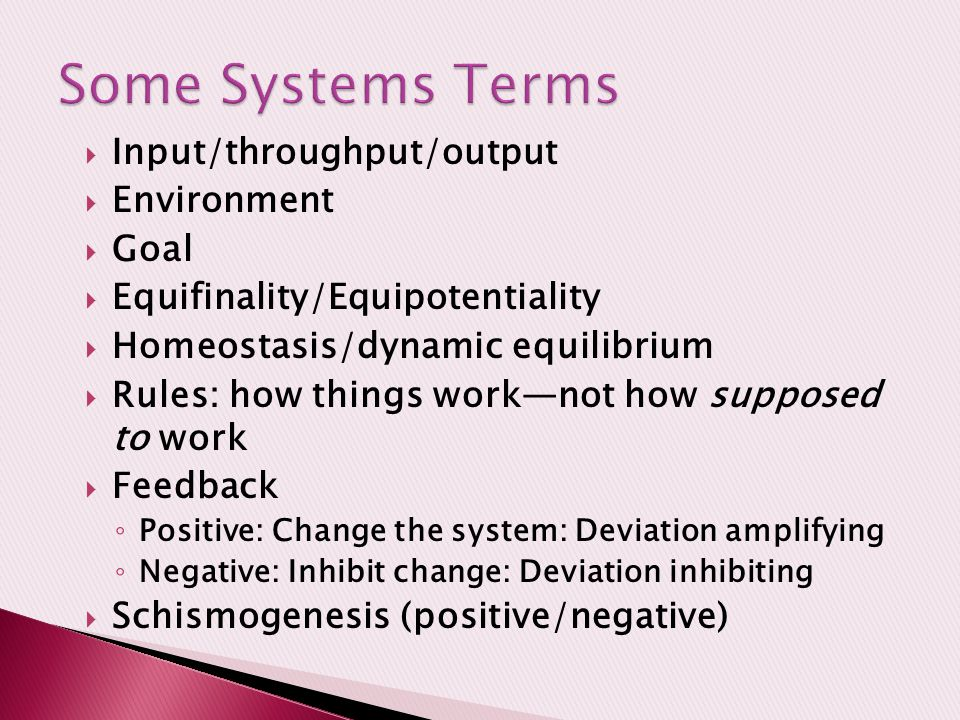  Input/throughput/output  Environment  Goal  Equifinality/Equipotentiality  Homeostasis/dynamic equilibrium  Rules: how things work—not how supposed to work  Feedback ◦ Positive: Change the system: Deviation amplifying ◦ Negative: Inhibit change: Deviation inhibiting  Schismogenesis (positive/negative)