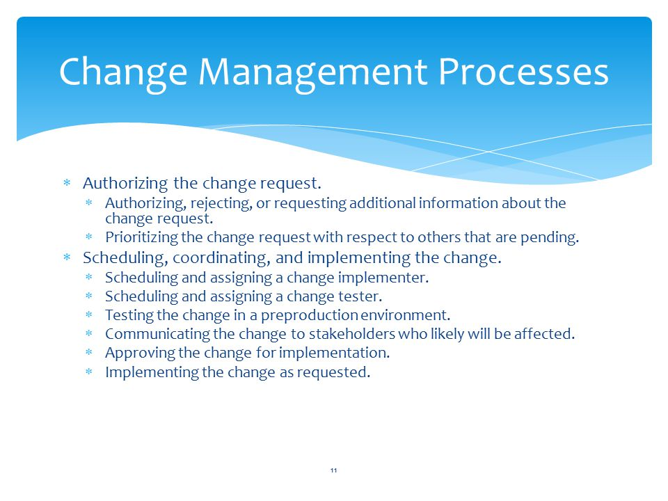  Authorizing the change request.