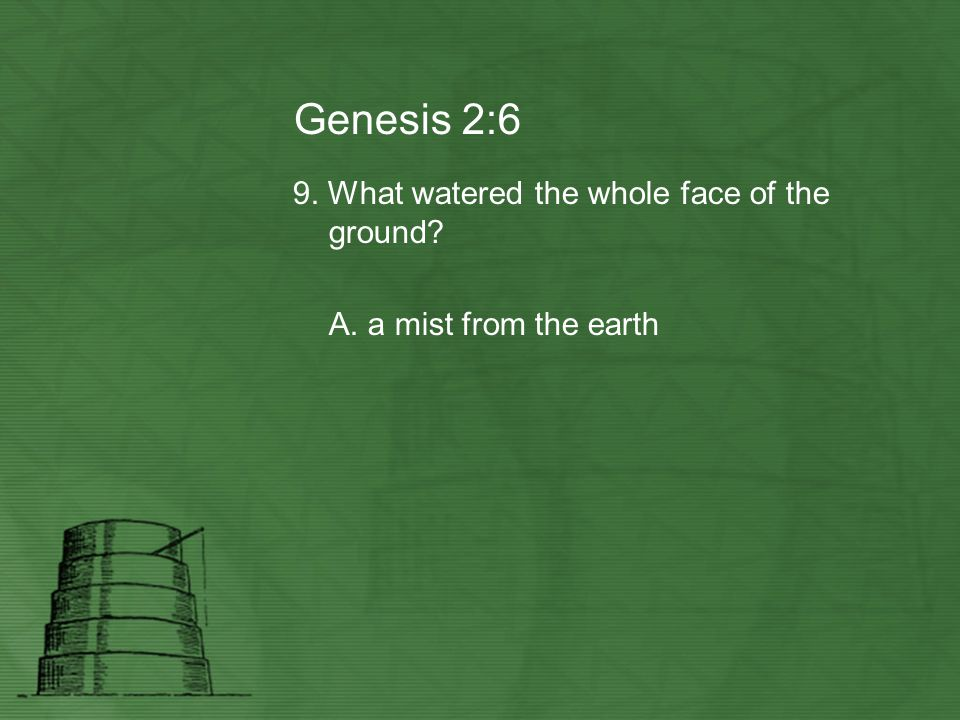 Genesis 2:6 9. What watered the whole face of the ground? A. a mist from the earth