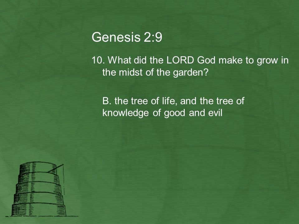 Genesis 2:9 10. What did the LORD God make to grow in the midst of the garden? B. the tree of life, and the tree of knowledge of good and evil