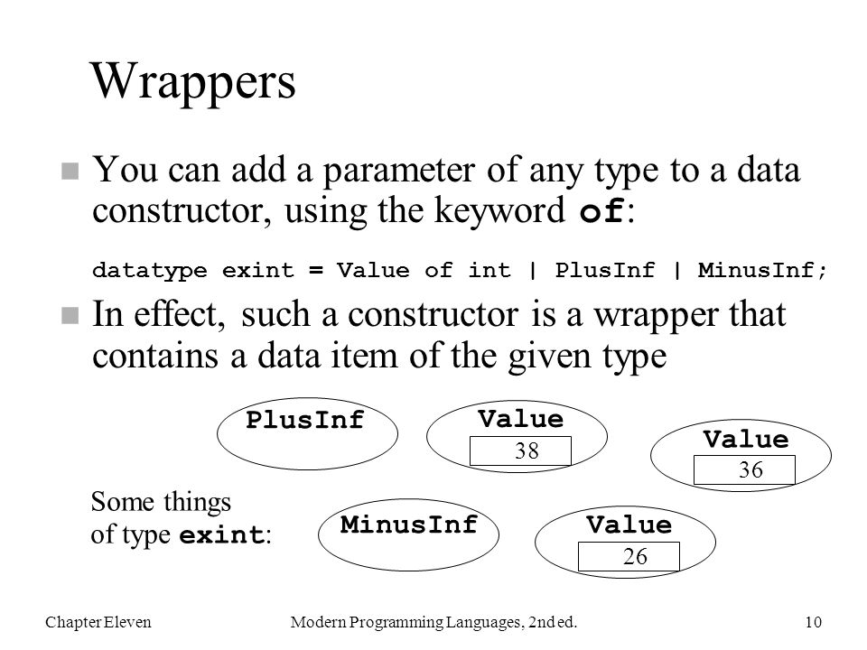 Wrappers You can add a parameter of any type to a data constructor, using the keyword of : datatype exint = Value of int | PlusInf | MinusInf; n In ef